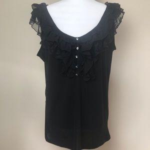 NWT French Laundry Ruffle Lace Black Blouse